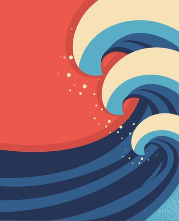 Sea waves poster Vector illustration of sea landscape  Vector