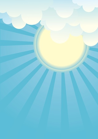 Sun and beautifull clouds.Vector illustration Stock Vector - 14997412
