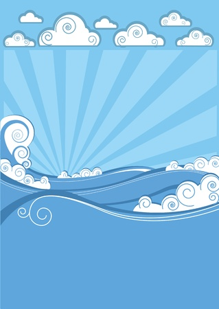 Sea waves in sun day. Vector illustration of nature landscape Stock Vector - 14997413