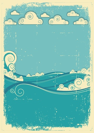 Sea waves in sun day. Vintage abstract image on grunge old paper Stock Vector - 14997414