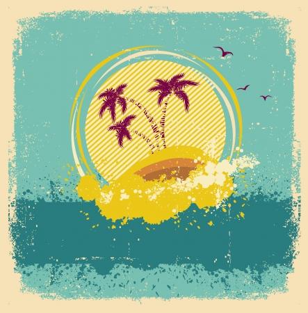 与难看的东西元素的葡萄酒热带海岛摘要图象