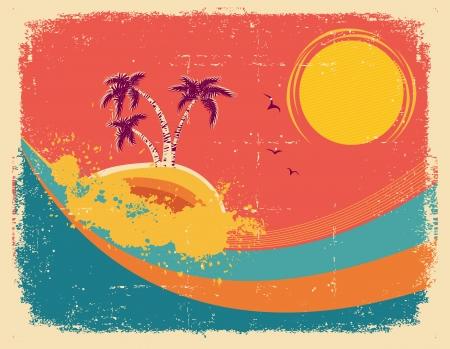 Vintage tropical card on old paper texture Illustration