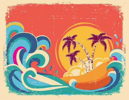 hawaii beach: Vintage tropical card on old paper texture Illustration