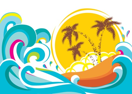 coconut fruit: tropical island with waves background  Illustration