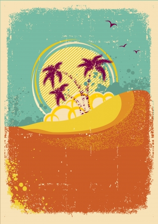tropical island on vintage old  background with grunge  Illustration