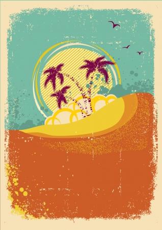 hawaii islands: tropical island on vintage old  background with grunge  Illustration