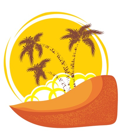 tropical island background with yellow sun Vector