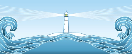 Blue seascape horizon. Vector illustration with lighthous  Vector