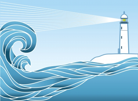 Blue seascape horizon. Vector illustration with lighthous  Stock Vector - 15047542