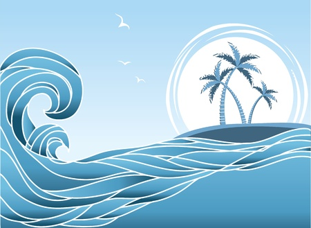 Sea horizon with tropical island and palms.Waves background Vector