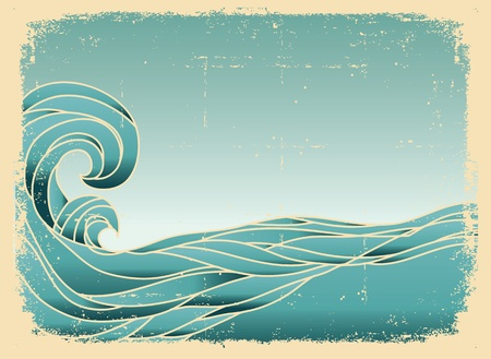 wave icon: Grunge blue waves background.Painted image on old paper texture.