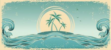 tide: Azul marino horizonte. Vector imagen del grunge con palmeras tropicales en la textura de papel viejo