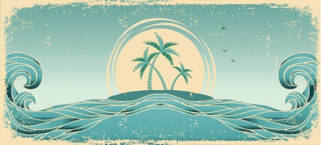 tide: Blue seascape horizon. Vector grunge image with tropical palms on old paper texture