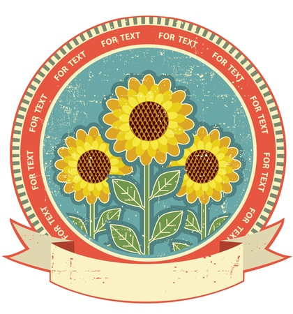 sunflower field: Sunflowers symbol on old paper texture Vintage style