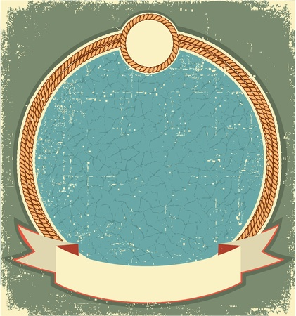 old cowboy: Vintage label illustration for text with rope frame Illustration