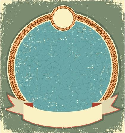 old cowboy: Vintage label illustration for text with rope frame Illustration