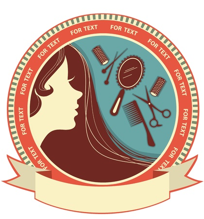 long hair woman: Peluquer�a fondo con la cara de la mujer aislada en blanco Vectores