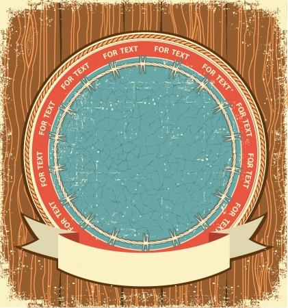 wild wild west: Etichetta sfondo occidentale sulla struttura di legno vecchio