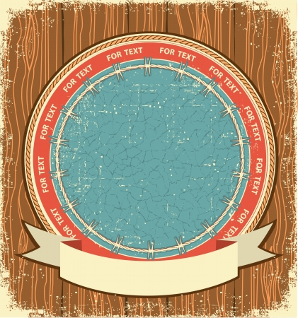 Western label background on old wood texture Vector