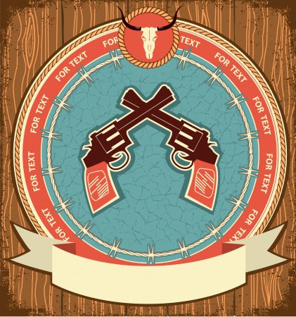 Western guns background on wood texture Vector