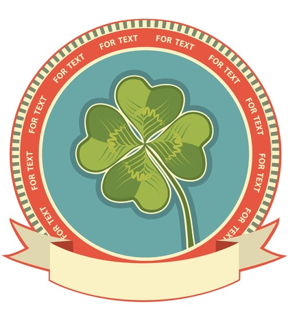 Clover label background with scroll for text Stock Vector - 15529079