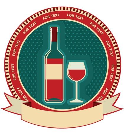 retro bottle: Red wine bottle label.symbol background for text
