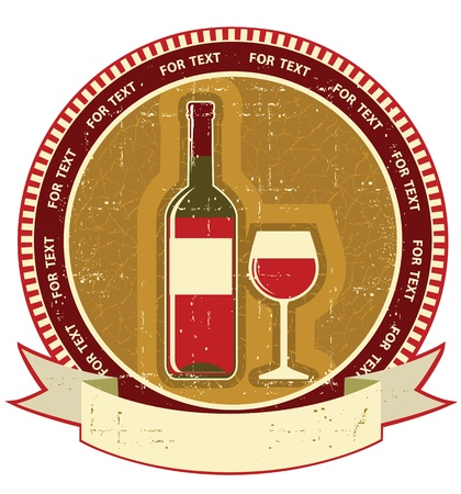 red wine bottle: Botella de vino rojo sobre fondo label.Vintagel textura de papel viejo