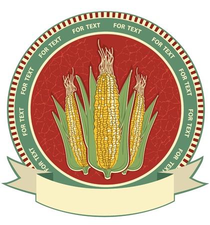Corn label retro image isolated on white. Stock Vector - 15462996