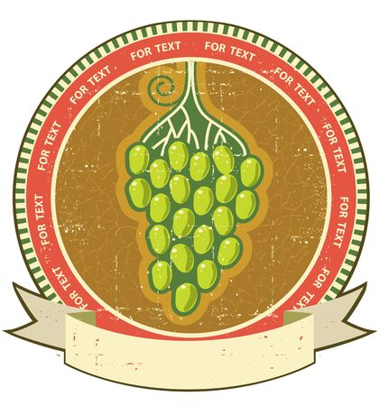 Grapes label with scroll for text on old grunge paper Vector