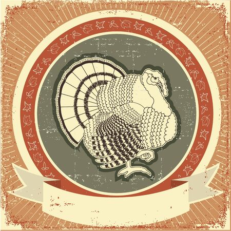 Turkey on label Vector illustration of thanksgiving holiday on old paper texture Vector