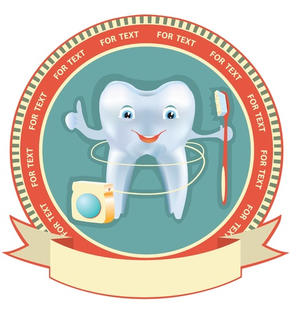 floss: Tooth label set Healthy symbol background with Mesh effect