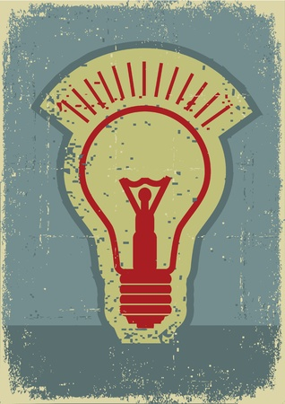 Idea lamp Grunge symbol of light bulb on old paper texture  Vector