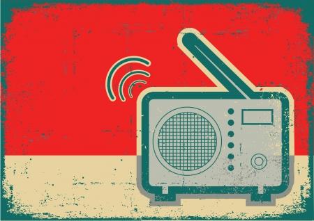 Retro radio.Vector grunge poster on old texture Vector