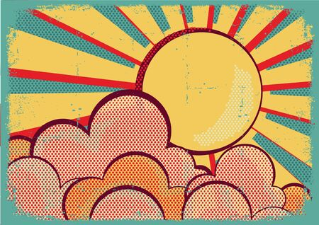 Sun and blue sky with beautifull clouds Retro image on old paper texture Stock Photo - 16170215