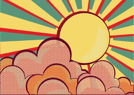 Sun and blue sky with beautifull clouds Retro image Stock Photo - 16170207