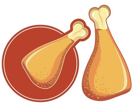 pollo muslo imagen aislada en el fondo blanco Ilustración de vector