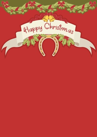 holly berry: Red christmas card with horseshoe and holly berry leaves decoration Illustration