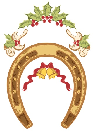 Christmas horseshoe with holly berry leaves isolated on white Vector