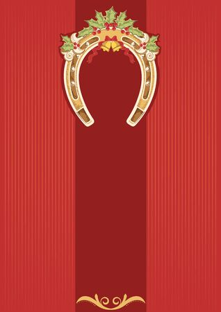 Horseshoe with holly berry on red background.Christmas card for design Vector