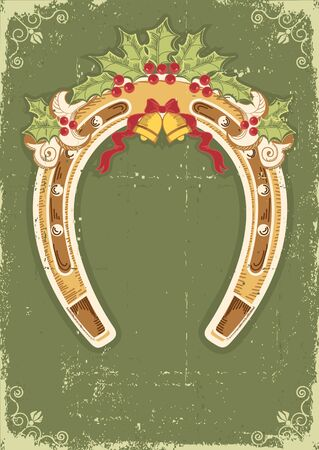 Christmas horseshoe background with holly berry leaves decoration and frame Stock Vector - 16475210
