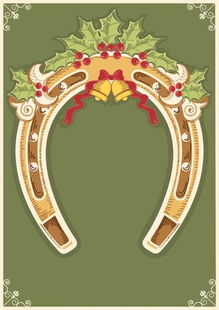Christmas horseshoe background with holly berry leaves decoration and frame Vector