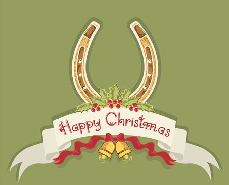 Christmas horseshoe background with holly berry and bells Stock Vector - 16475204