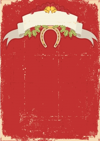 Red christmas card with horseshoe on old texture.Vintage background Vector