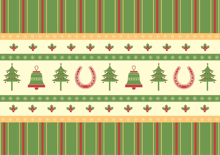 christmas decoration background.Vector green red card for design Vector