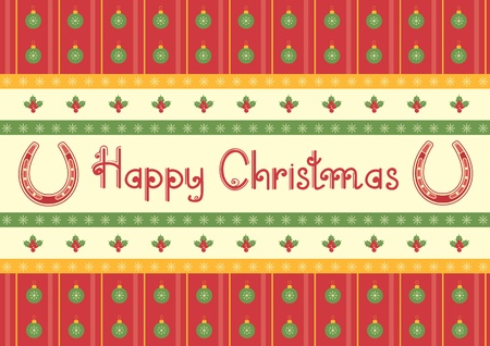 christmas decoration background with horseshoes and text Vector
