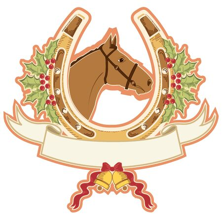 horse and horseshoe christmas.Vector isolated on white Vector