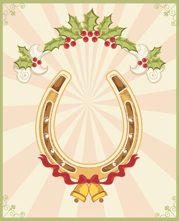 Horseshoe on christmas background with holly berry Stock Vector - 16504563