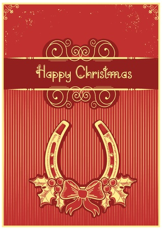 Horseshoe on red christmas background with holly berry and text Stock Vector - 16504560