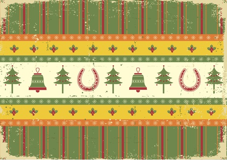 vintage christmas decoration on old paper background.Vector green red card for design Vector