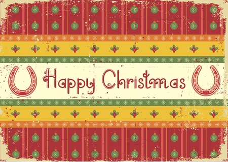 christmas decoration background with horseshoes and text on old paper Vector